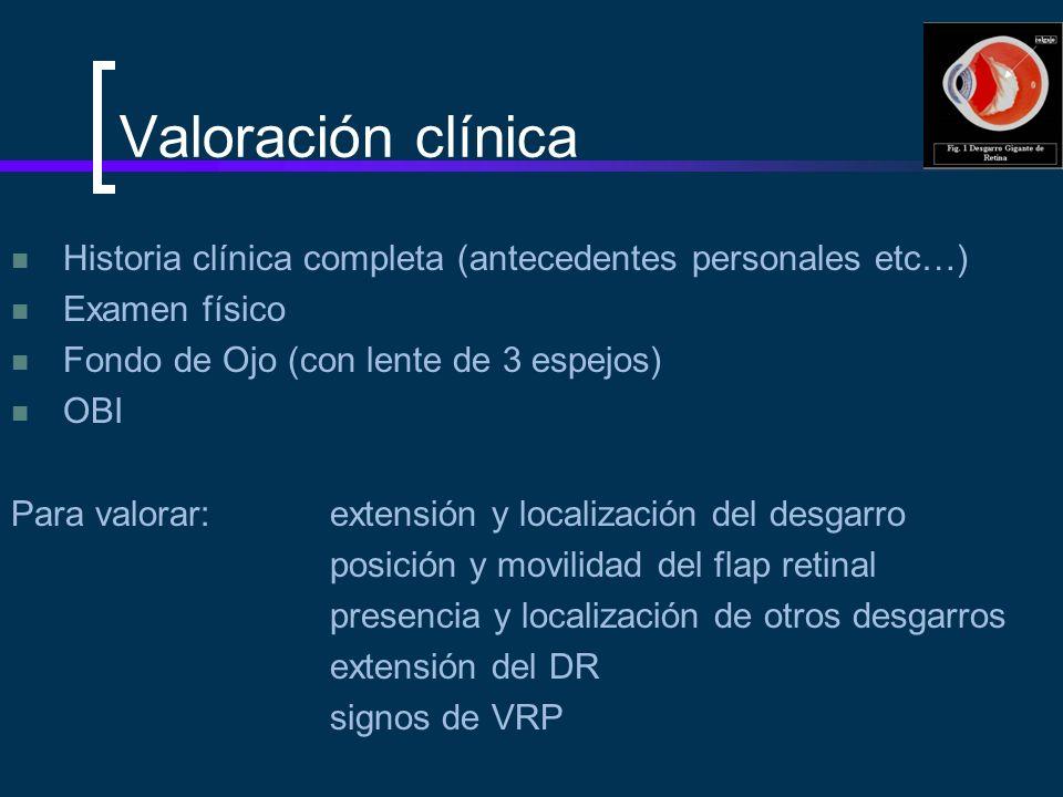 Valoración clínica Historia clínica completa (antecedentes personales etc…) Examen físico. Fondo de Ojo (con lente de 3 espejos)
