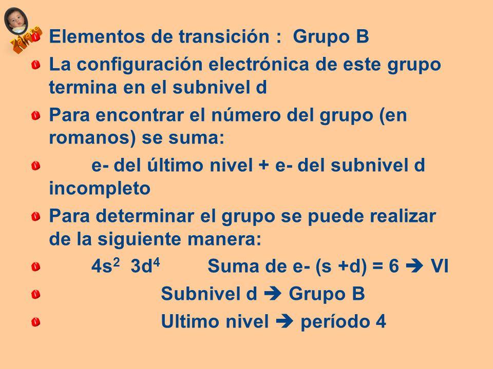 Propiedades peridicas ubicacin del elemento en la tabla ppt 50 elementos de transicin grupo b urtaz Gallery