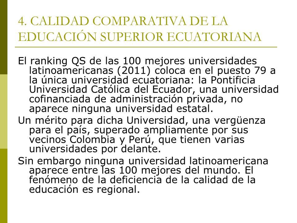 4. CALIDAD COMPARATIVA DE LA EDUCACIÓN SUPERIOR ECUATORIANA