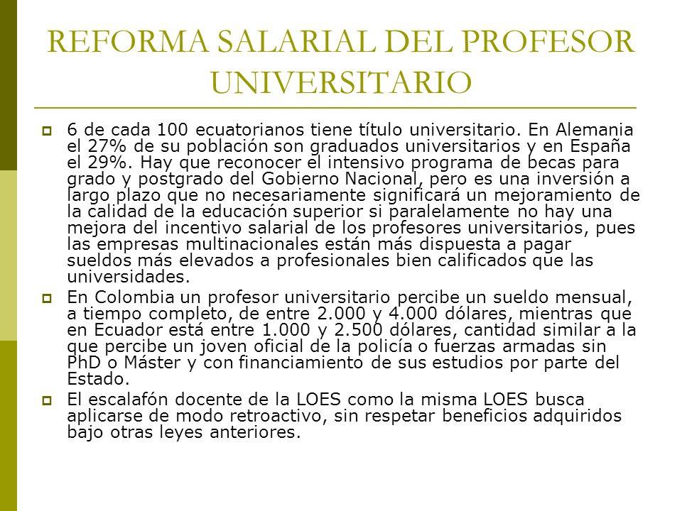 REFORMA SALARIAL DEL PROFESOR UNIVERSITARIO