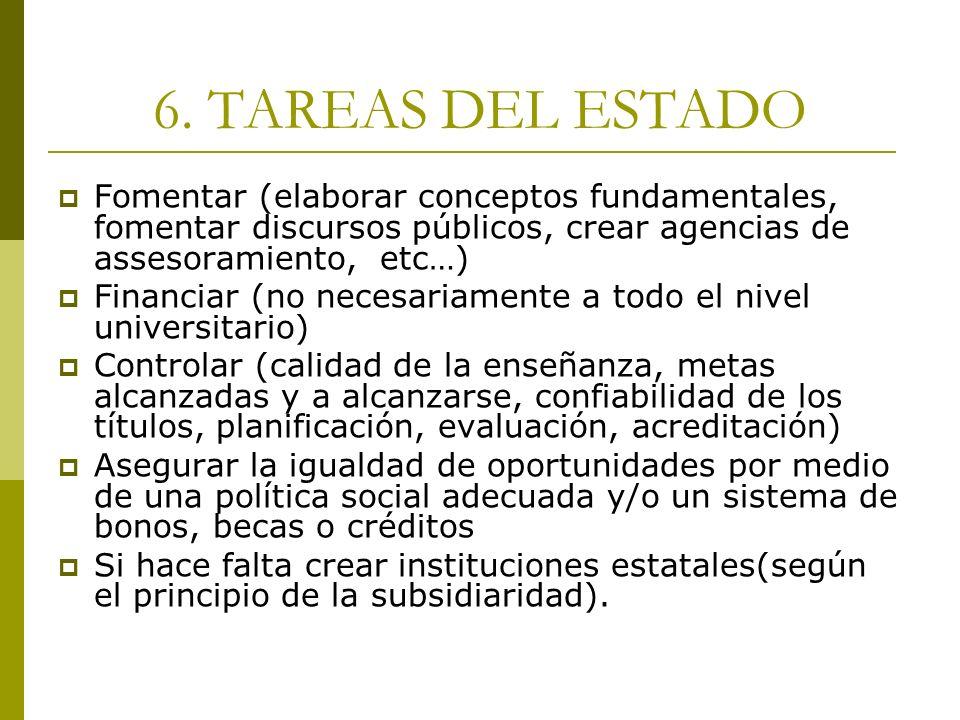 6. TAREAS DEL ESTADO Fomentar (elaborar conceptos fundamentales, fomentar discursos públicos, crear agencias de assesoramiento, etc…)