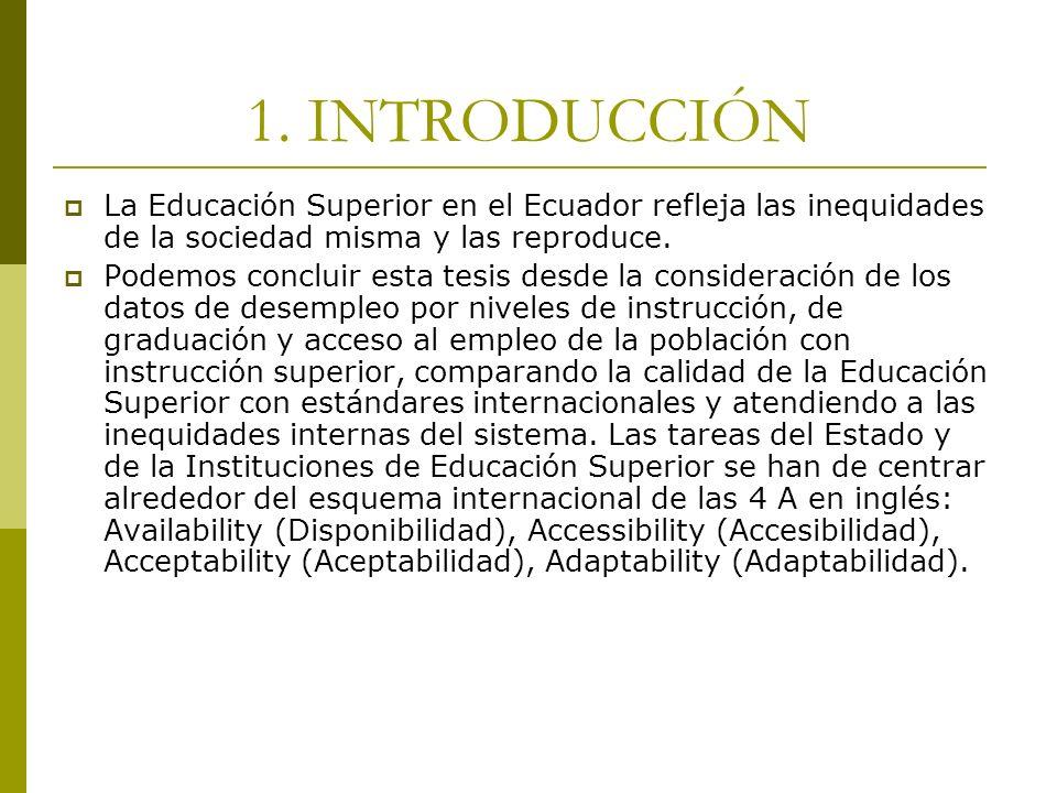1. INTRODUCCIÓN La Educación Superior en el Ecuador refleja las inequidades de la sociedad misma y las reproduce.
