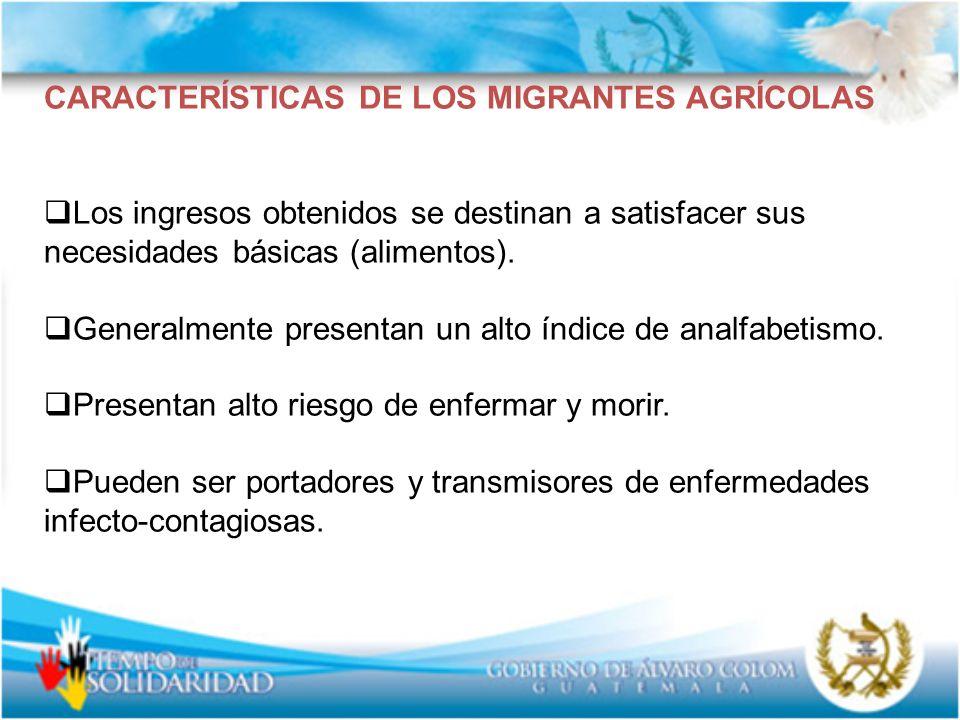 CARACTERÍSTICAS DE LOS MIGRANTES AGRÍCOLAS