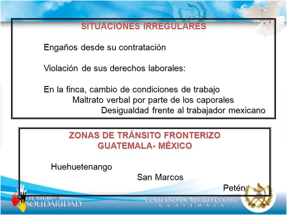 SITUACIONES IRREGULARES ZONAS DE TRÁNSITO FRONTERIZO