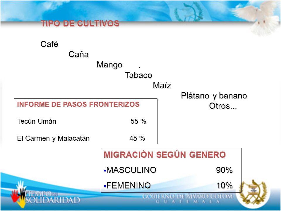 MIGRACIÒN SEGÚN GENERO MASCULINO 90% FEMENINO 10%
