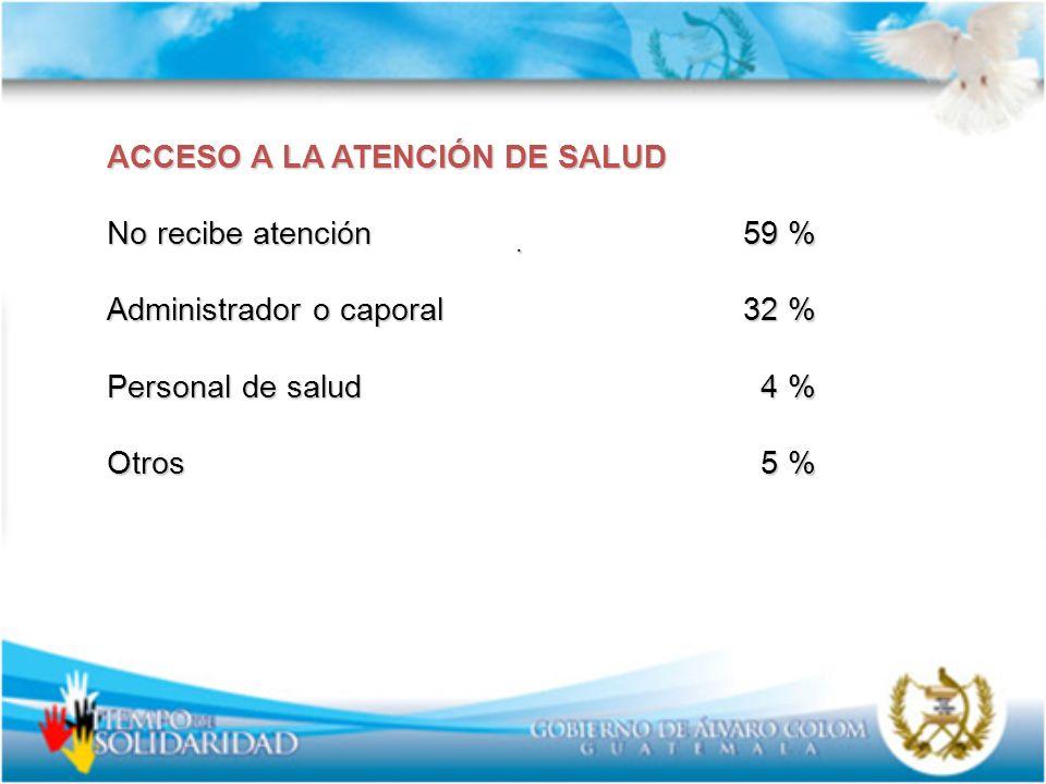 ACCESO A LA ATENCIÓN DE SALUD No recibe atención 59 %
