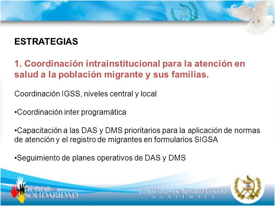 ESTRATEGIAS 1. Coordinación intrainstitucional para la atención en salud a la población migrante y sus familias.