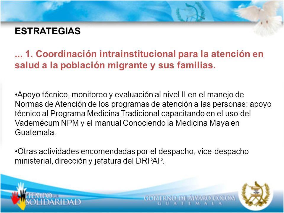 ESTRATEGIAS ... 1. Coordinación intrainstitucional para la atención en salud a la población migrante y sus familias.
