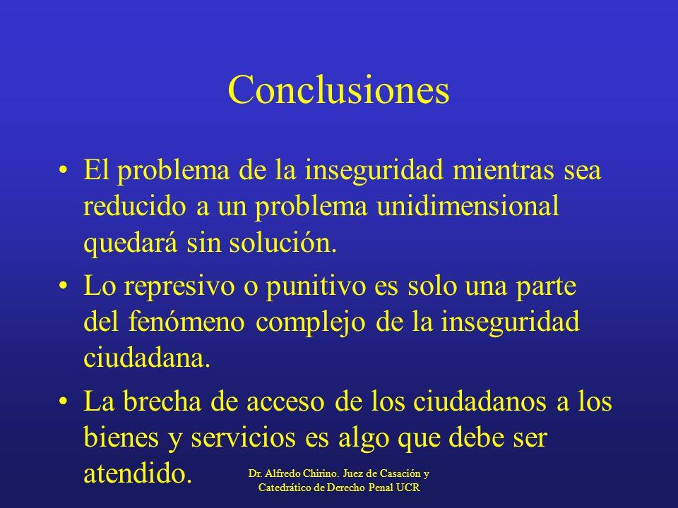 Conclusiones El problema de la inseguridad mientras sea reducido a un problema unidimensional quedará sin solución.