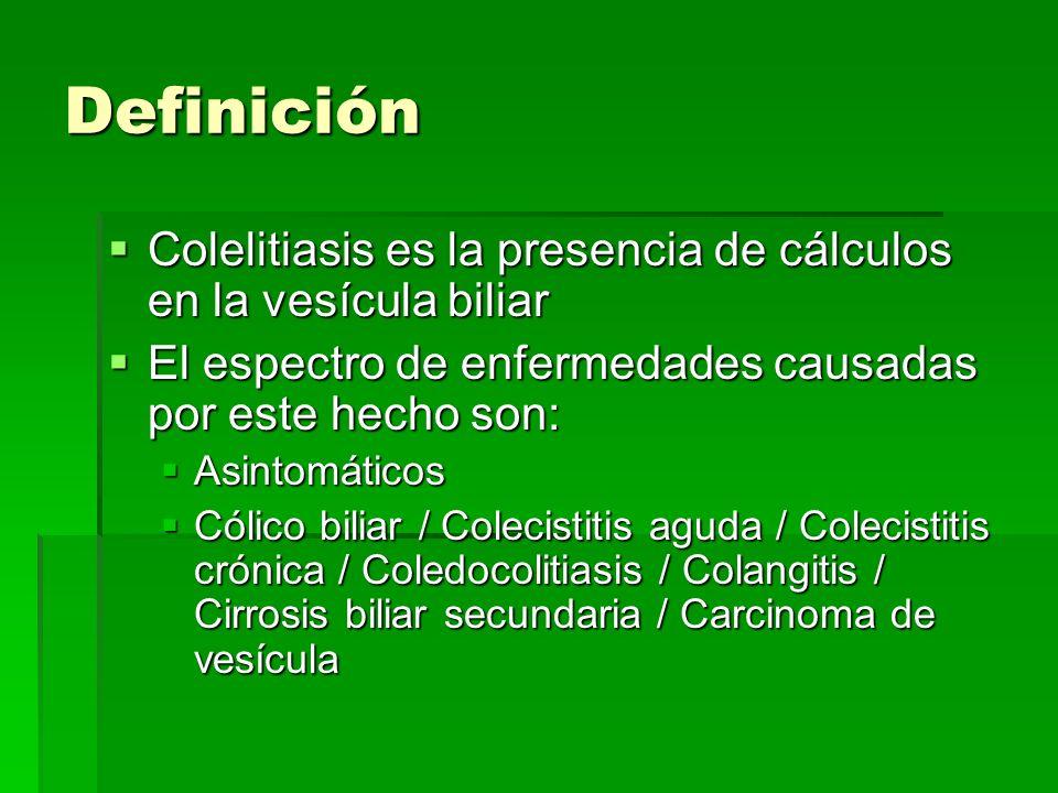 Definición Colelitiasis es la presencia de cálculos en la vesícula biliar. El espectro de enfermedades causadas por este hecho son: