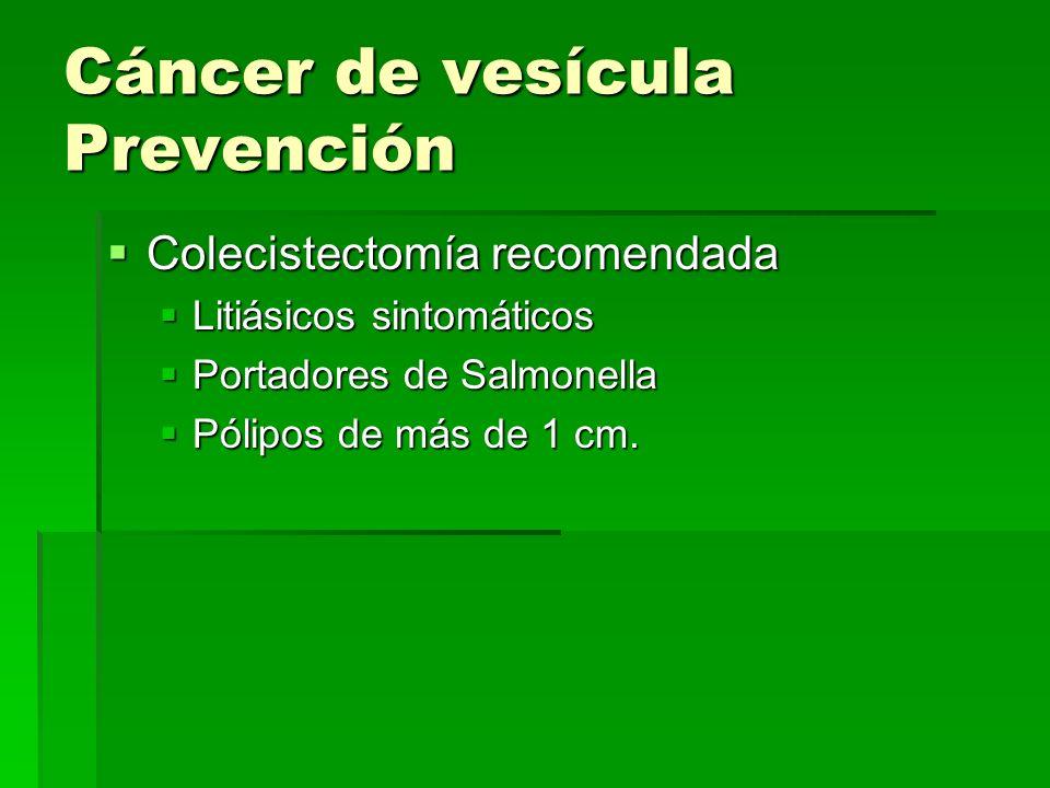 Cáncer de vesícula Prevención