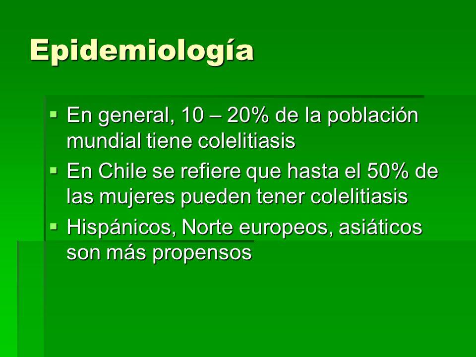 Epidemiología En general, 10 – 20% de la población mundial tiene colelitiasis.