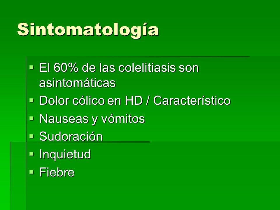 Sintomatología El 60% de las colelitiasis son asintomáticas