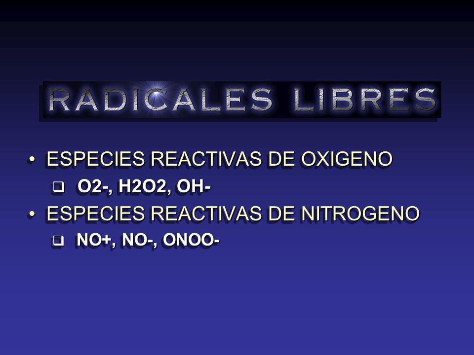 ESPECIES REACTIVAS DE OXIGENO ESPECIES REACTIVAS DE NITROGENO