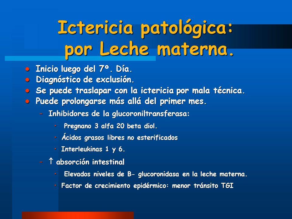 Ictericia patológica: por Leche materna.