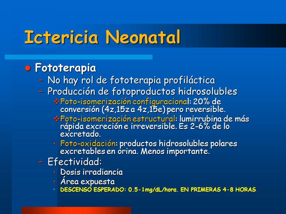 Ictericia Neonatal Fototerapia No hay rol de fototerapia profiláctica