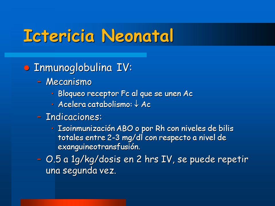 Ictericia Neonatal Inmunoglobulina IV: Mecanismo Indicaciones: