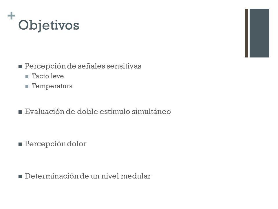 Objetivos Percepción de señales sensitivas