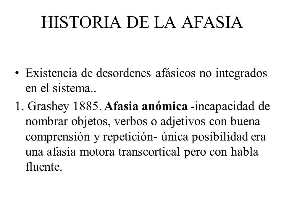 HISTORIA DE LA AFASIAExistencia de desordenes afásicos no integrados en el sistema..