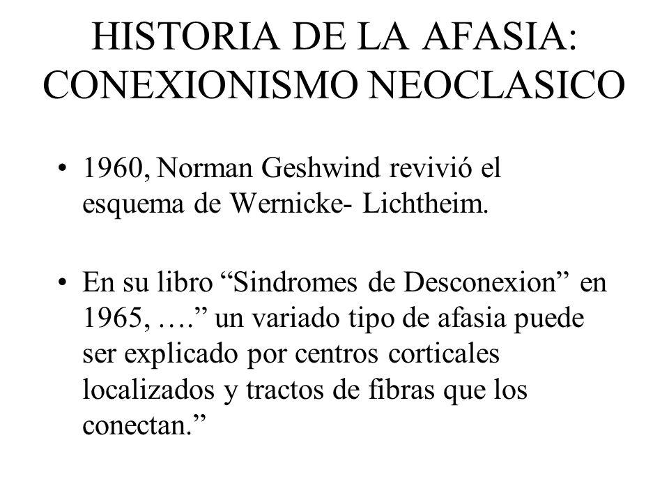 HISTORIA DE LA AFASIA: CONEXIONISMO NEOCLASICO