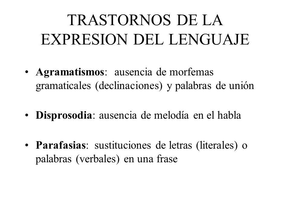TRASTORNOS DE LA EXPRESION DEL LENGUAJE