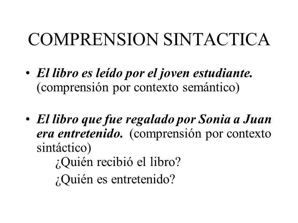 COMPRENSION SINTACTICA