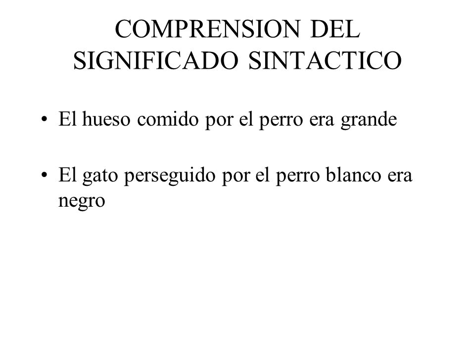 COMPRENSION DEL SIGNIFICADO SINTACTICO
