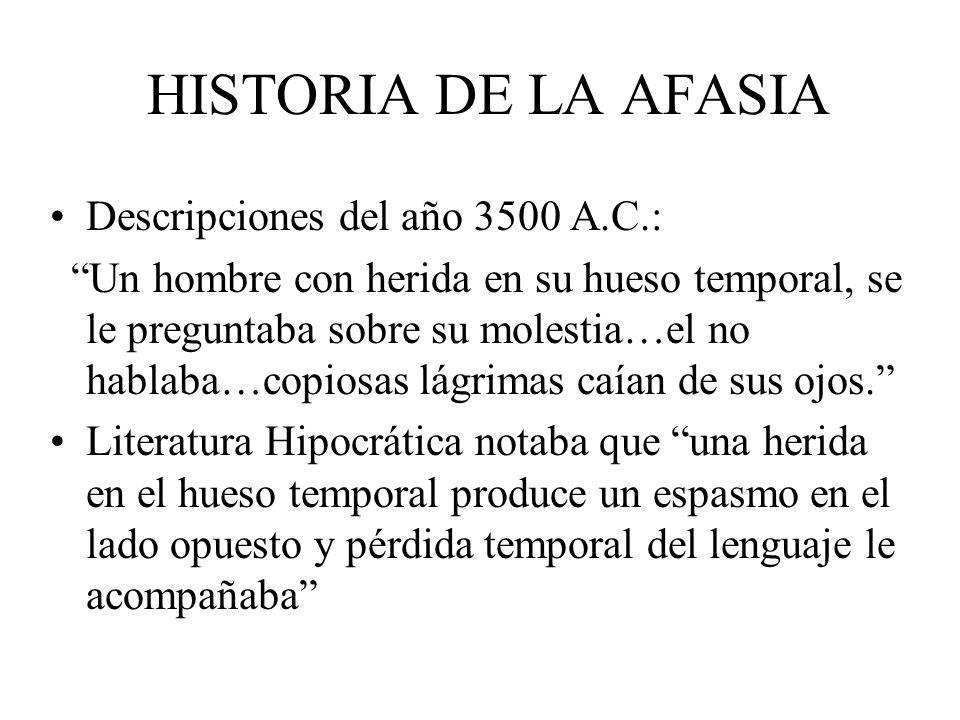 HISTORIA DE LA AFASIA Descripciones del año 3500 A.C.: