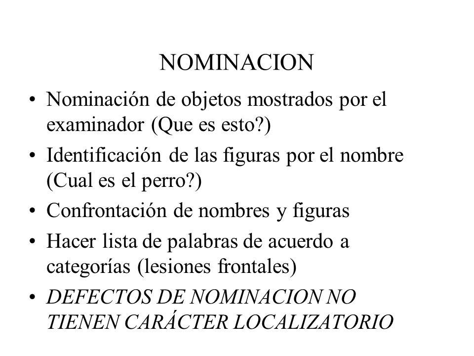 NOMINACION Nominación de objetos mostrados por el examinador (Que es esto ) Identificación de las figuras por el nombre (Cual es el perro )