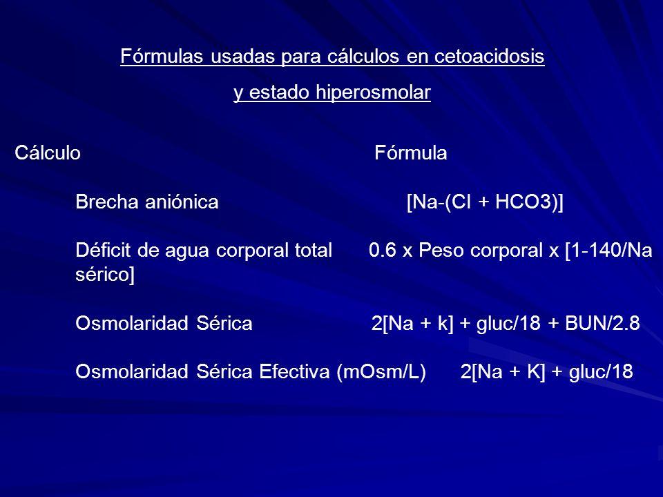 Fórmulas usadas para cálculos en cetoacidosis