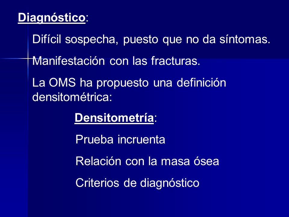 Diagnóstico: Difícil sospecha, puesto que no da síntomas. Manifestación con las fracturas. La OMS ha propuesto una definición densitométrica: