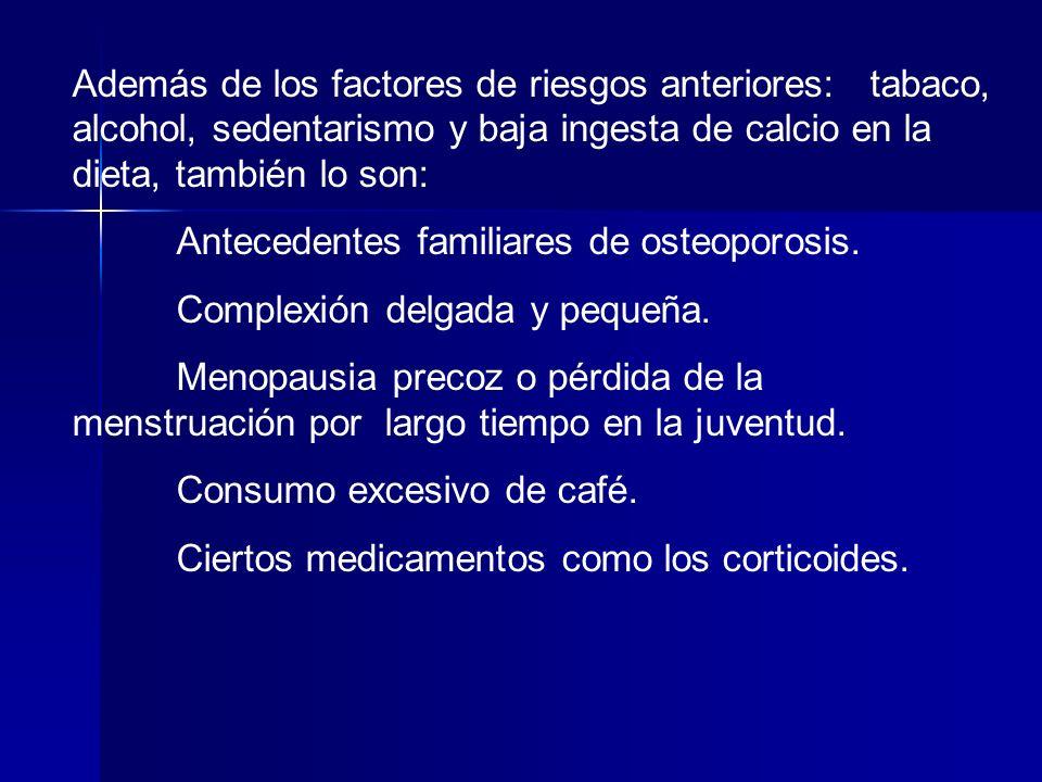 Además de los factores de riesgos anteriores: tabaco, alcohol, sedentarismo y baja ingesta de calcio en la dieta, también lo son: