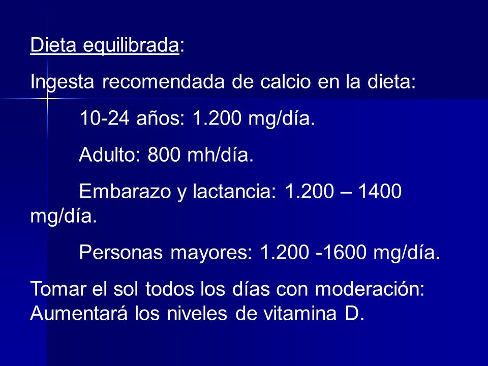 Dieta equilibrada: Ingesta recomendada de calcio en la dieta: 10-24 años: 1.200 mg/día. Adulto: 800 mh/día.