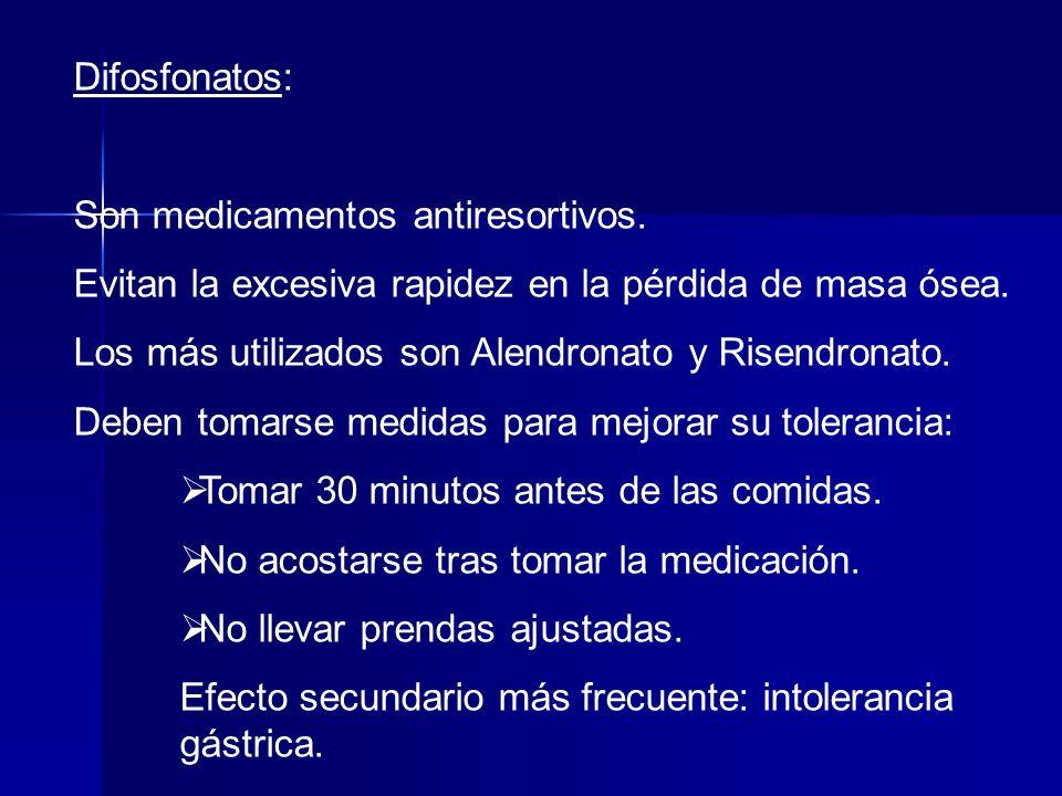 Difosfonatos: Son medicamentos antiresortivos. Evitan la excesiva rapidez en la pérdida de masa ósea.