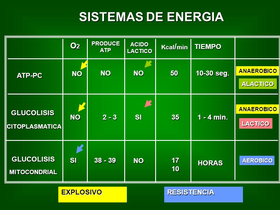 SISTEMAS DE ENERGIA O2 TIEMPO ATP-PC NO NO NO 50 10-30 seg. GLUCOLISIS