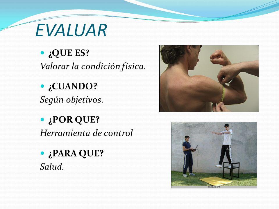 EVALUAR ¿QUE ES Valorar la condición física. ¿CUANDO