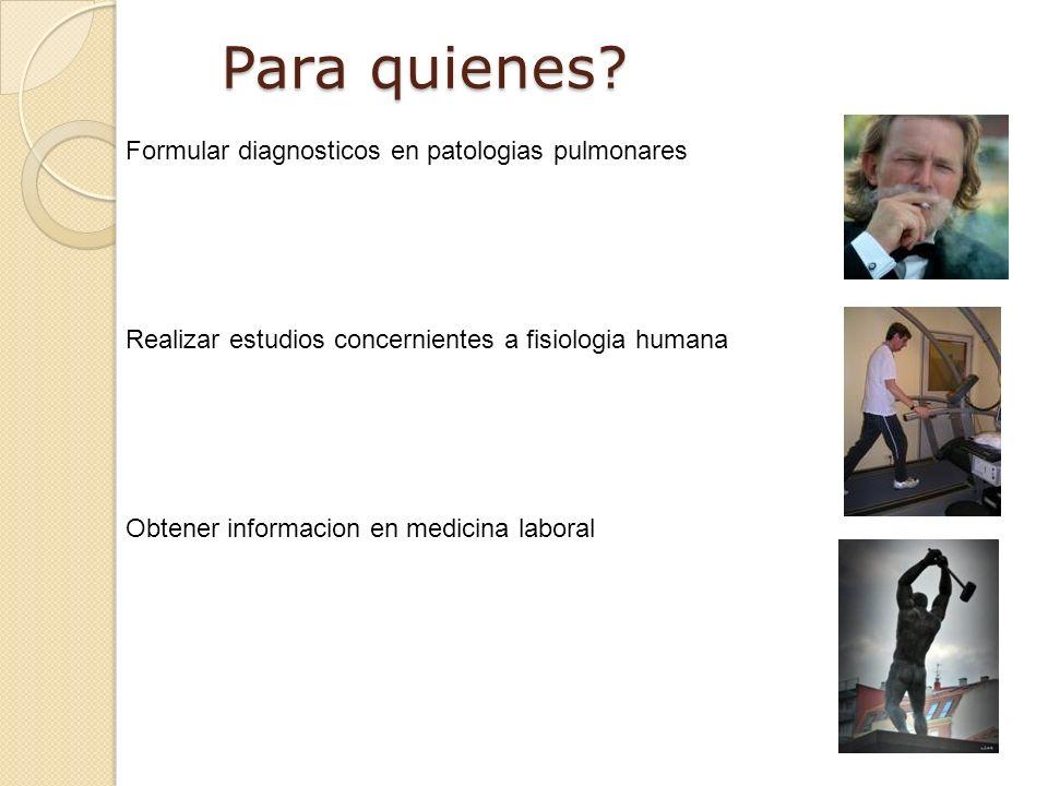 Para quienes Formular diagnosticos en patologias pulmonares