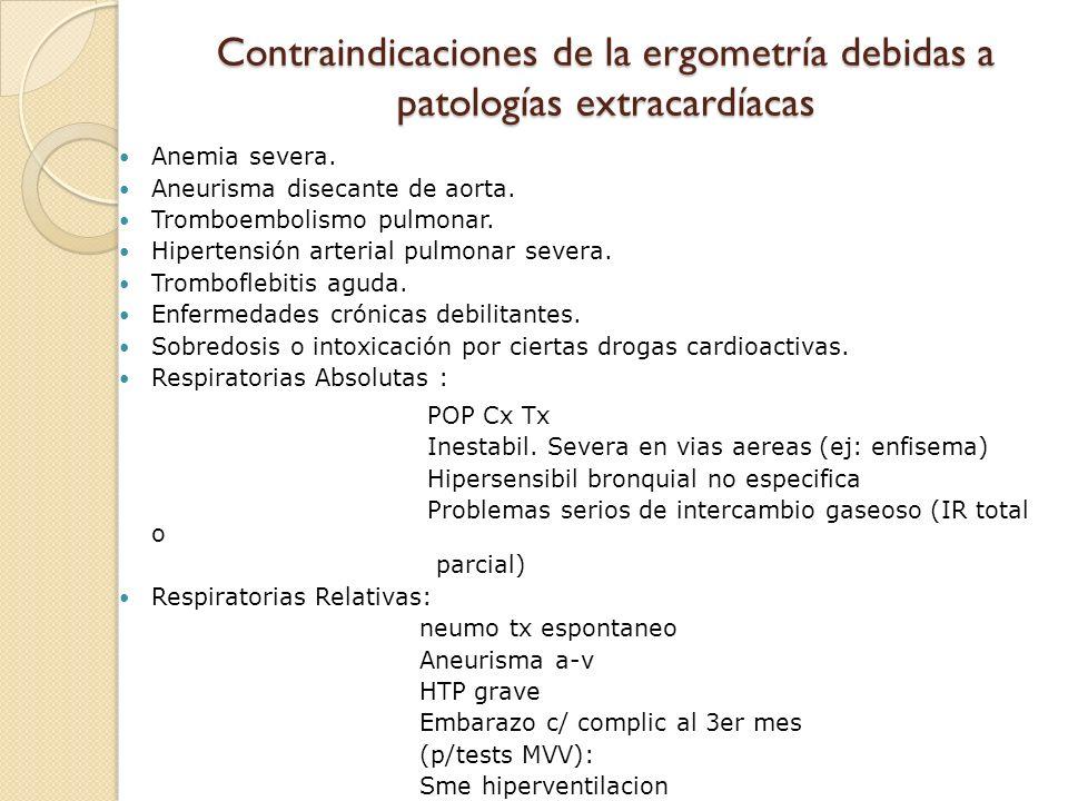 Contraindicaciones de la ergometría debidas a patologías extracardíacas