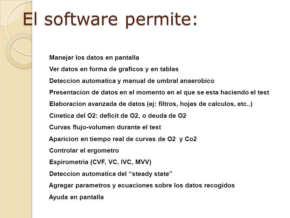 El software permite: Manejar los datos en pantalla