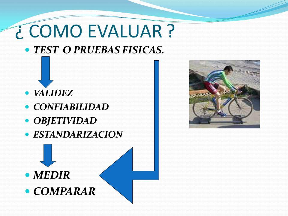 ¿ COMO EVALUAR MEDIR COMPARAR TEST O PRUEBAS FISICAS. VALIDEZ