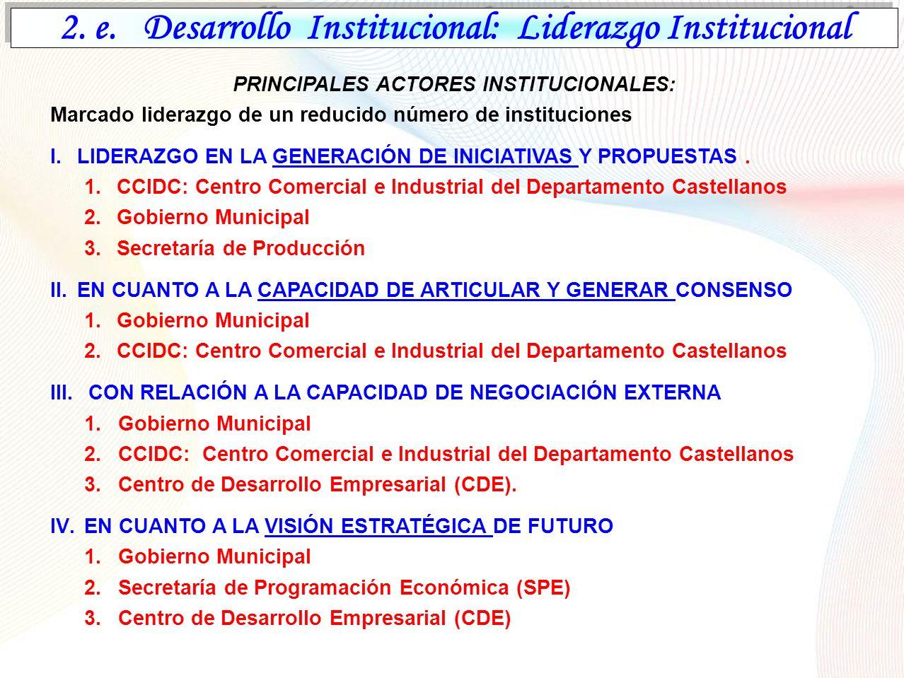 2. e. Desarrollo Institucional: Liderazgo Institucional
