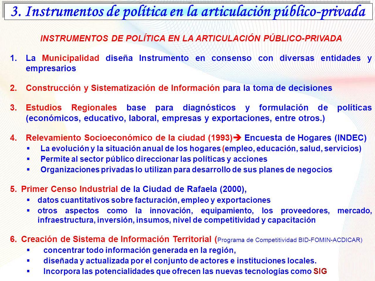 3. Instrumentos de política en la articulación público-privada