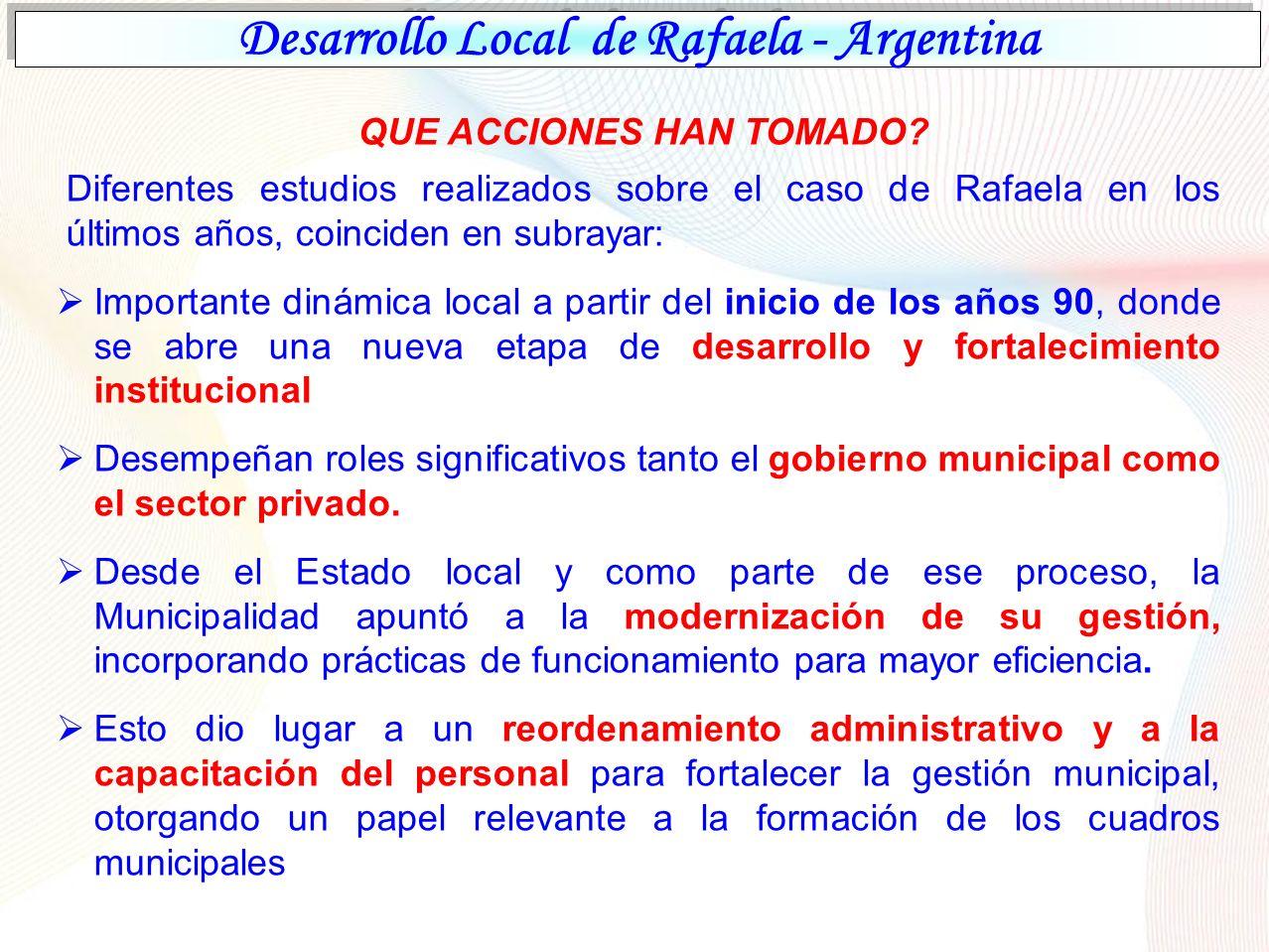 Desarrollo Local de Rafaela - Argentina QUE ACCIONES HAN TOMADO