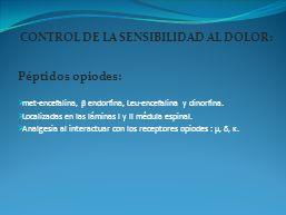 CONTROL DE LA SENSIBILIDAD AL DOLOR:
