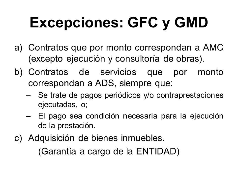 Excepciones: GFC y GMD Contratos que por monto correspondan a AMC (excepto ejecución y consultoría de obras).