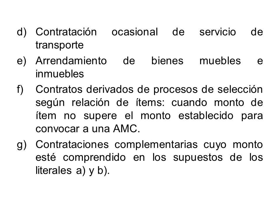 Contratación ocasional de servicio de transporte