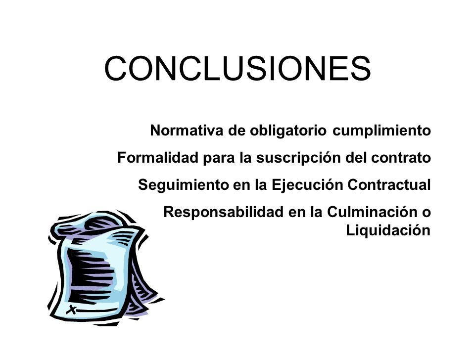 CONCLUSIONES Normativa de obligatorio cumplimiento