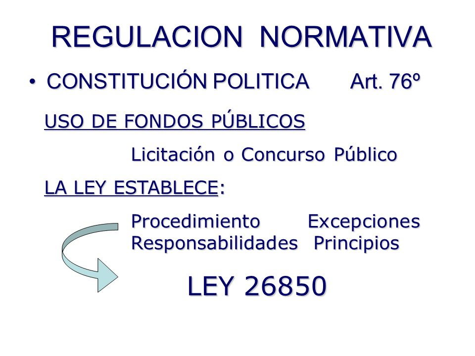 REGULACION NORMATIVA CONSTITUCIÓN POLITICA Art. 76º