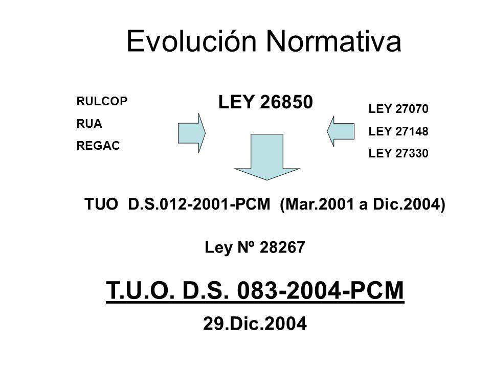 Evolución Normativa T.U.O. D.S. 083-2004-PCM LEY 26850 29.Dic.2004