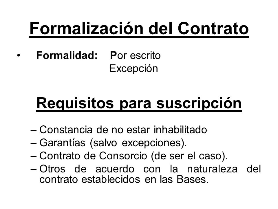 Formalización del Contrato